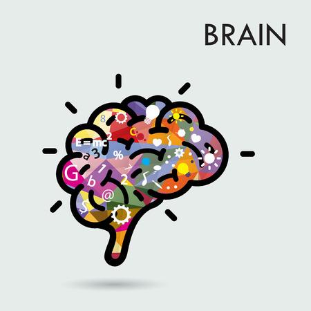 math symbols: Creative brain Idea concept, design for poster flyer cover brochure, business idea and education concept.Vector illustration Illustration