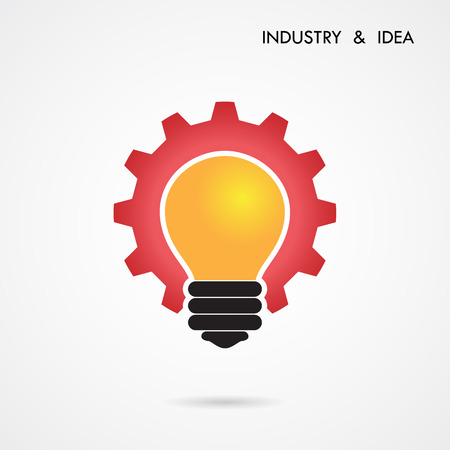 Creative light bulb and gear abstract vector design banner template. Corporate business industrial creative icon symbol.Vector illustration Vector