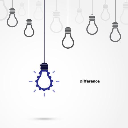 Creativo símbolo de la bombilla con signo de engranajes y término de diferencia, los negocios y la idea industrial. Ilustración vectorial