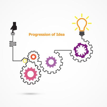 conocimientos: Creativo s�mbolo de la bombilla con lineal de forma de engranaje. La progresi�n de la idea de concepto. De negocios, la educaci�n y la idea industrial. Ilustraci�n vectorial Vectores