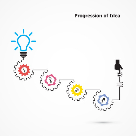 business ideas: Creative light bulb symbol with linear of gear shape. Progression of idea concept. Business, education and industrial idea. Vector illustration