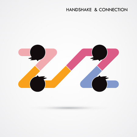 sign contract: Handshake abstract sign vector design template. Business creative concept. Deal, contract, team, cooperation symbol icon