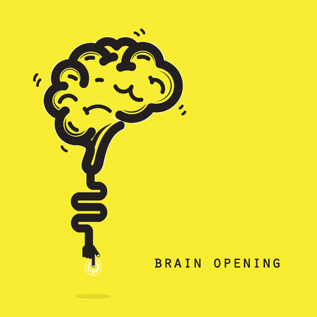 brain clipart: Brain opening concept.Creative brain abstract vector logo design template. Corporate business industrial creative logotype symbol.Vector illustration Illustration