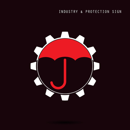 protection gear: Umbrella sign and gear icon. Industry, protection and security concept. Vector illustration Illustration