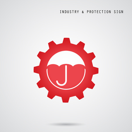 surety: Umbrella sign and gear icon. Industry, protection and security concept. Vector illustration Illustration