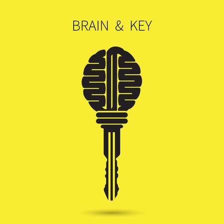 different idea: Creative brain sign with key symbol. Key of success. Business and education idea concept. Vector illustration.