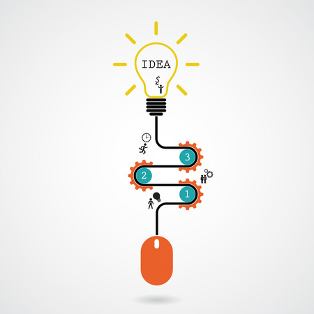 progress: Creative light bulb idea concept and computer mouse symbol. Progression of idea concept. Business, education and industrial idea. Vector illustration