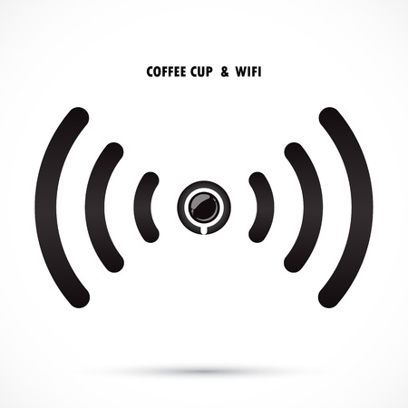 wifi sign: Hot coffee cup and wifi sign. Technology and business background. Vector illustration Illustration