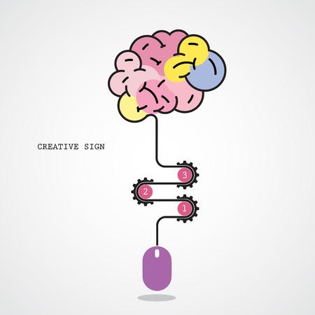 progression: Creative brain idea concept and computer mouse symbol. Progression of idea concept. Business, education and industrial idea. Vector illustration