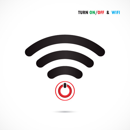 protuberance: Turn On-Off switch sign and wifi sign. Technology and business background. Vector illustration