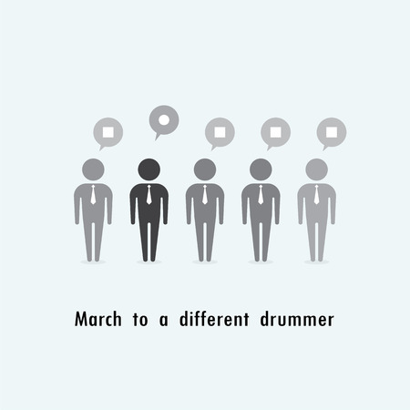 standing out: Businessman standing out from the crowd. Business idea. March to a different drummer concept. Vector illustration Illustration