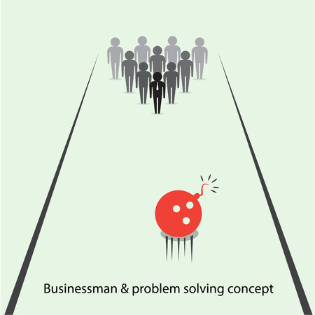Businessman pins symbol and bowling ball sign. Business and  problem solving ideas . Vector illustration