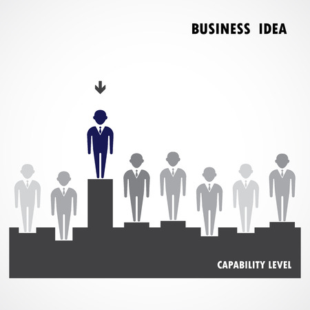 capability: Businessman standing out from the crowd. Business  idea, capability and leadership concept. Vector illustration