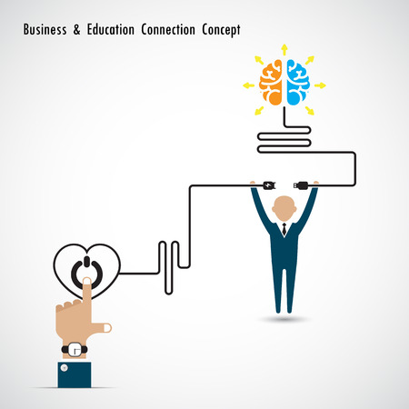 knowledge business: Businessman and creative light bulb brain symbol and knowledge connection concept. Business and education connection concept. Vector illustration