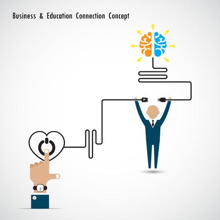 conocimiento: Hombre de negocios y bombilla creativo s�mbolo cerebro y concepto de conexi�n conocimiento. Negocios y concepto de conexi�n educaci�n. Ilustraci�n vectorial