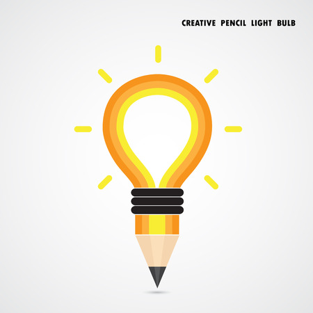 Pencil and light bulb on background. Education concept. Vector illustration Vector