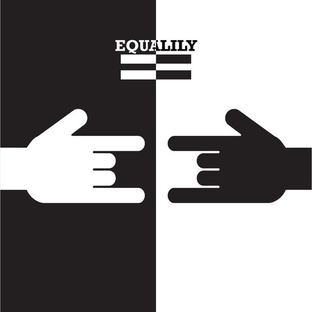 uniformity: Black and White hand with equality concept. Vector illustration. Illustration