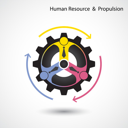 industry logo: Human resource and business & industrial propulsion concept.  Vector illustration Illustration