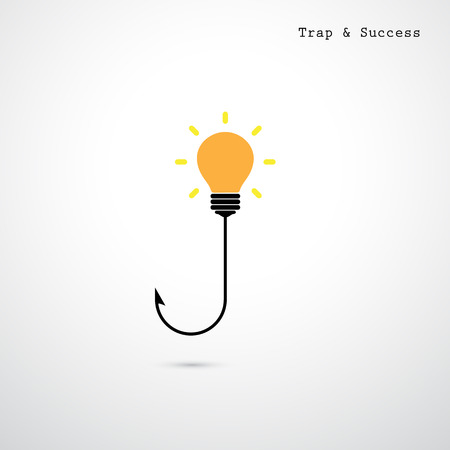 allurement: Hooks and light bulbs. Trap and success concept. Business idea.  Vector illustration