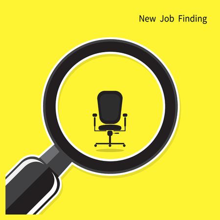 puesto de trabajo: Nuevo concepto de la búsqueda de empleo. Búsqueda de un empleado. Buscando Talento. Búsqueda de hombre de negocios. Ilustración vectorial