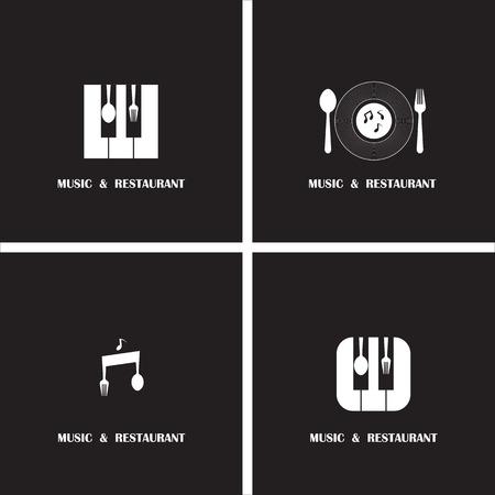 Creative Music und Restaurant icon abstract design vector template. Großunternehmen kreative symbol.Vector illustration Standard-Bild - 40328261