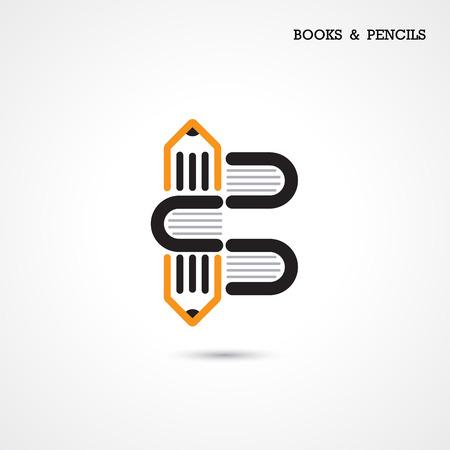 marca libros: Creative l�piz y el libro icono de dise�o abstracto plantilla vectorial. Actividad empresarial s�mbolo creativo. Ilustraci�n vectorial