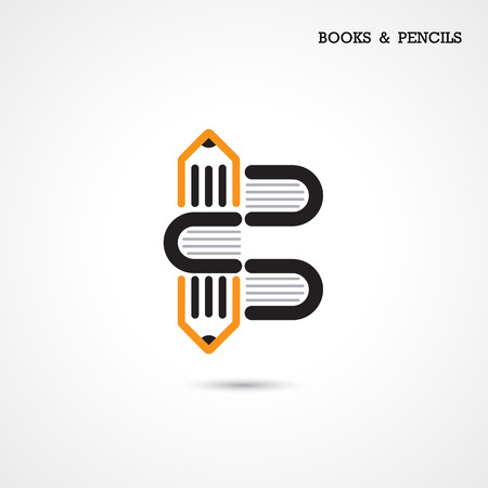 inspiration education: Creative pencil and book icon abstract  design vector template. Corporate business creative  symbol. Vector illustration