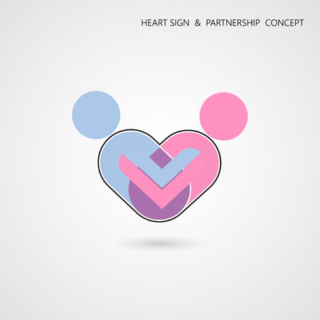 coalition: Creative heart shape and human symbol with business concept. Teamwork sign. Partnership and cooperation concept Illustration