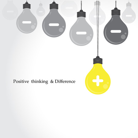 Creative light bulb symbol with positive thinking and difference concept, business idea. Vector illustration