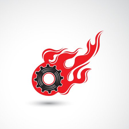 machanic: Wheel in Fire flame icon abstract logo design vector template. Industrial concept. Corporate creative logotype symbol. Vector illustration