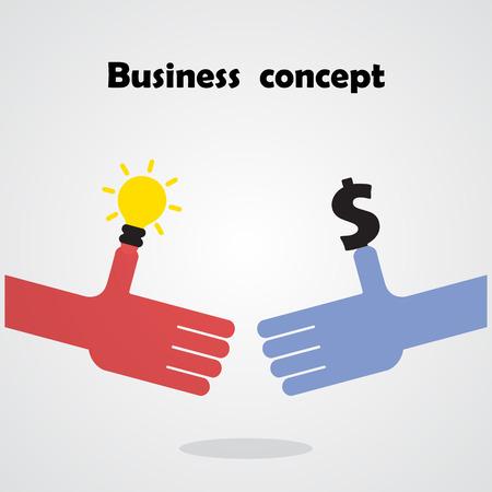 la union hace la fuerza: Negocios apretón de manos y concepto de negocio de personas. Ilustración vectorial