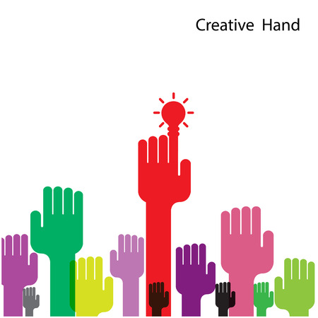 Creative light bulb and hand icon abstract vector design. Corporate business creative logotype symbol. Vector illustration Illustration