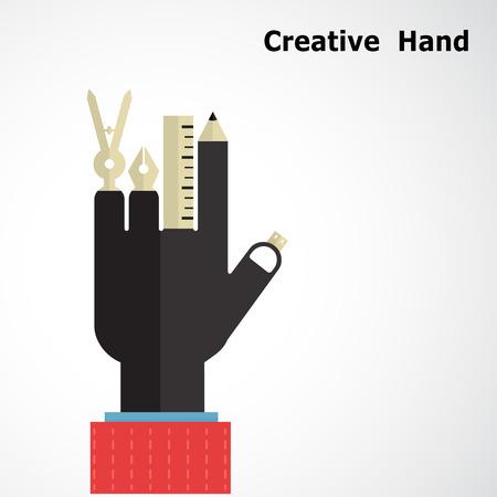 크리 에이 티브 손 로고 디자인 템플릿. 비즈니스 및 교육 개념 악기 기호를 그리기. 사업가 손 기호. 디자이너의 손 기호. 벡터 일러스트 레이 션