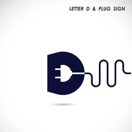 創造的な文字 D アイコン抽象的なロゴ デザイン ベクトル電気プラグ シンボルを持つテンプレート。企業のビジネスの創造的なロゴのシンボルです