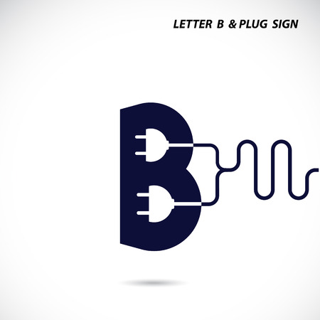 b: Creative letter B icon abstract logo design vector template with electrical plug symbol. Corporate business creative logotype symbol. Vector illustration