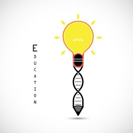 persona escribiendo: idea del bulbo reative concepto lápiz y símbolo de ADN. Educación y concepto de negocio. Ilustración del vector.