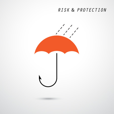 allurement: Hooks and red umbrella. Trap and security concept. Business and protection idea. Vector illustration Illustration