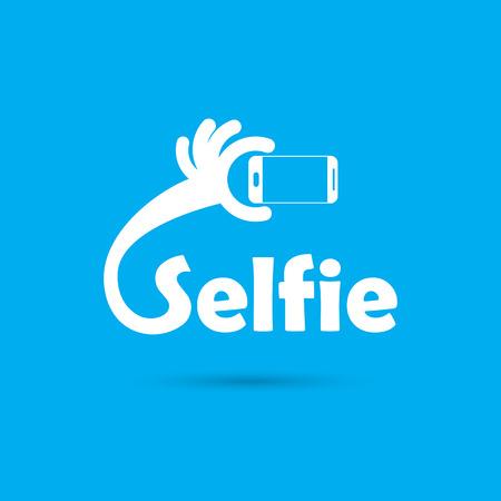 selfie: Taking selfie portrait photo on smart phone concept icon. Selfie concept design element. Vector illustration