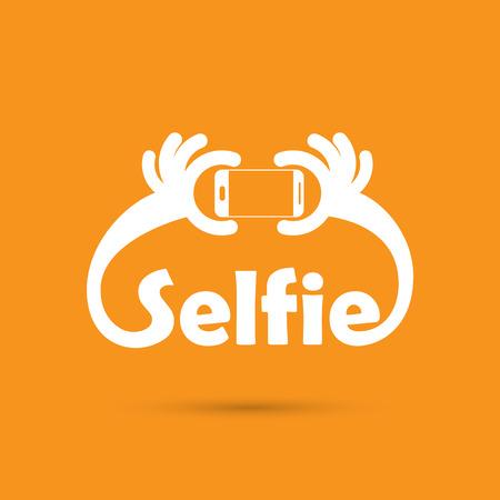 technology people: Taking selfie portrait photo on smart phone concept icon. Selfie concept design element. Vector illustration