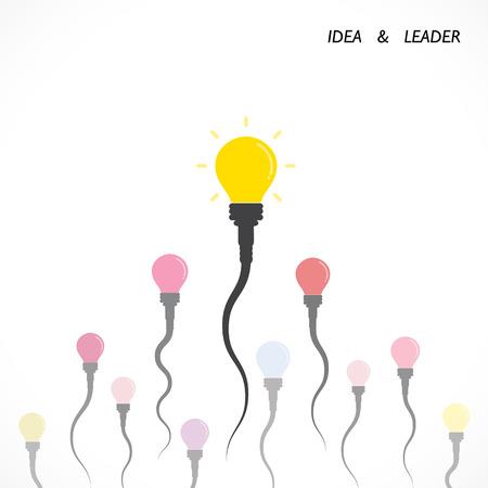 semen: Idea lampadina creativa e il concetto di leader. Concorrenza e forte simbolo sperma, aziendale .Vector illustrazione