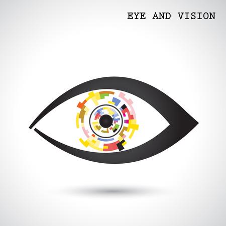 創造的なサークル抽象的なベクトルのロゴのデザインの背景。目とビジョンのコンセプトです。企業のビジネス技術の創造的なロゴのシンボルです