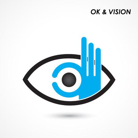 Ok mano con il segno occhio. Affari e concetto di visione. Logo della società, mano Ok simbolo. Creativo design template del logo, elemento di design. Illustrazione vettoriale Logo