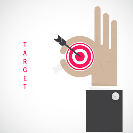 differential focus: Businessman hand shows target symbol as business concept. Ok hand sign. Business and vision concept. Company logo,hand Ok symbol icon. Creative logo design template,design element. Vector illustration Illustration
