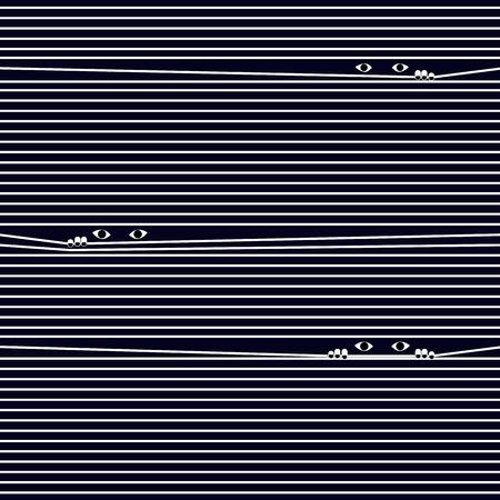 peer to peer: Muchos compa�eros ojo a trav�s de la cortina de la ventana con el fondo azul oscuro. Ilustraci�n vectorial