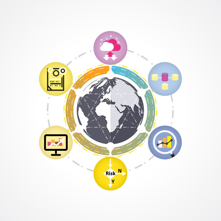 digitally generated image: Big data mind mapping infographics, data analysis infographic, information technology concept diagram. Digitally Generated Image of Data Concept. Big data concept. Vector illustration
