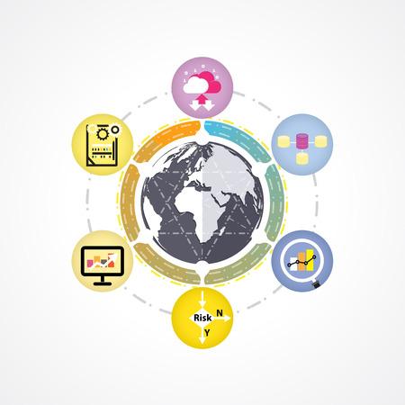 Big Mind-Mapping-Daten Infografiken, Datenanalyse Infografik, Informationstechnologie-Konzept-Diagramm. Digital generiert der Datenkonzept. Big Datenkonzept. Vektor-Illustration