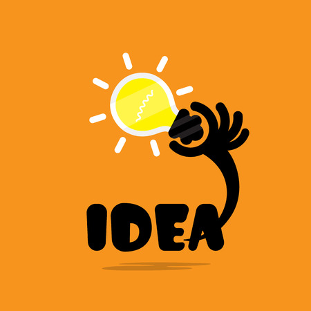 business idea: Creative bulb light idea,flat design.Concept of ideas inspiration, innovation, invention, effective thinking, knowledge and education. Business and concept and businessman hand.Creative Vector Typography Concept. Inspirational work and success business qu