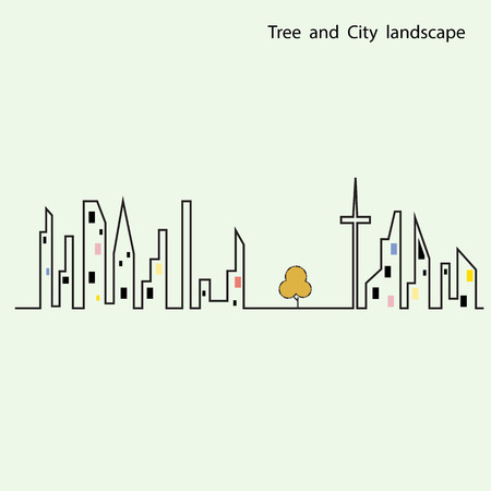 small tree: Small tree stand between the building witch city landscape background. Green concept. Flat design modern vector illustration