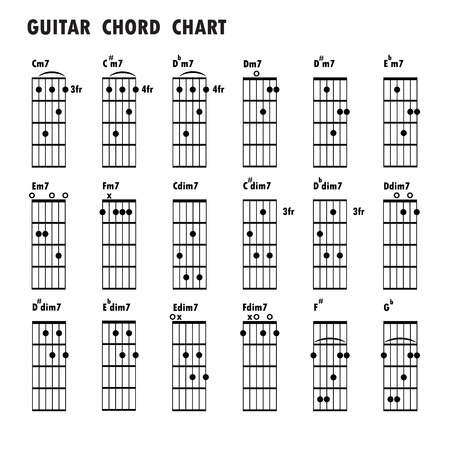 Colorful Major Chords Chart For Guitar With Fingers Position Royalty ...