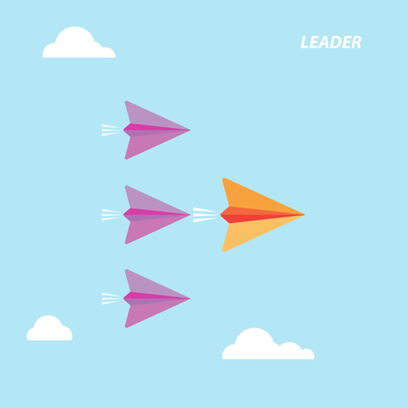Red paper airplane as a leader among white airplanes, leadership, teamwork, motivation, stand out of the crowd concept, vector eps10 illustration Illustration